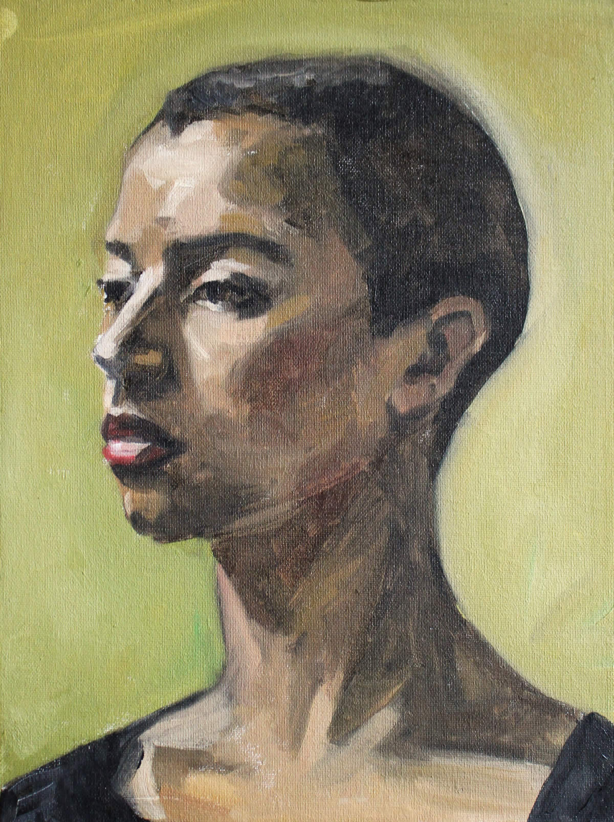 Portrait of a girl  (green 2) 30/40 oil on canvasboard 2015